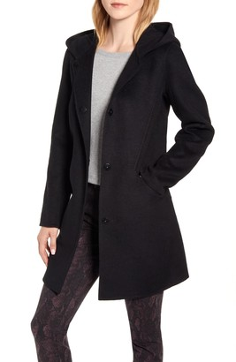 Kenneth Cole New York Hooded Wool Blend Duffle Coat