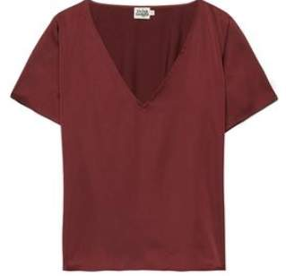 Twist & Tango - Brenda Dark Wine Polyester Short Sleeves Brenda Top - Dark Wine / 40