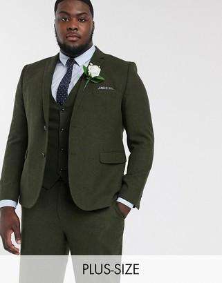 Harry Brown Plus wedding tweed heritage suit jacket-Green
