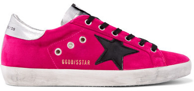 Golden Goose Superstar Distressed Velvet And Leather Sneakers - Fuchsia