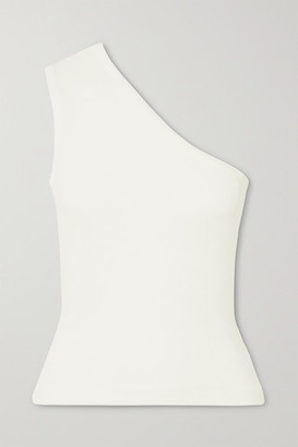 Gold Sign Net Sustain One-shoulder Ribbed Stretch-jersey Tank - White