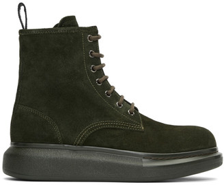 Alexander McQueen Green Suede Lace-Up Boots