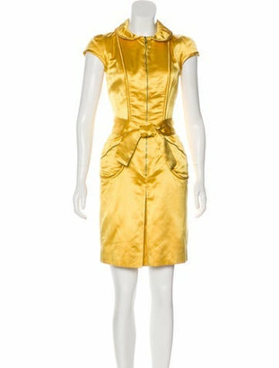 Louis Vuitton Knee-Length Silk Dress Yellow
