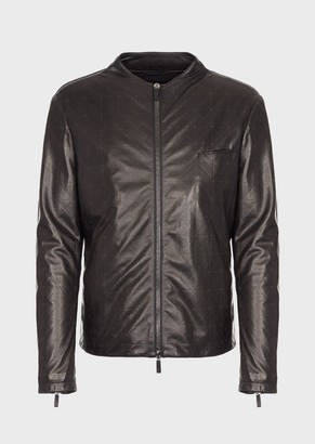 Giorgio Armani Jacket With Front Nappa Leather Geometric Design And Jersey Back
