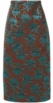 Rochas Metallic Floral-jacquard Pencil Skirt