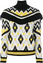 MSGM ruffle argyle jumper