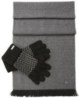 Hugo Boss N-Set Wool Scarf, Gloves Set One Size Black