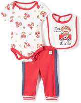 Baby Starters Ivory & Red Sock Monkey 'You Make Me Smile' Bodysuit Set - Infant