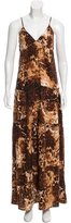 Torn By Ronny Kobo Emily Peasant Sleeveless Cheetah Print Maxi Dress w/ Tags