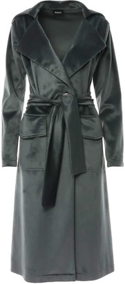 Bluzat Trench Coat With One Button Closure & Waist Tie