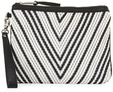 French Connection Charlie Woven Wristlet Bag, Black/White