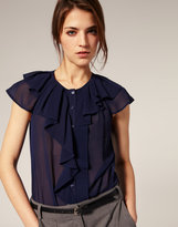 ASOS Pleated Trim And Ruffle Blouse