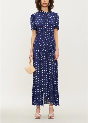 Self-Portrait Printed ruched crepe maxi dress