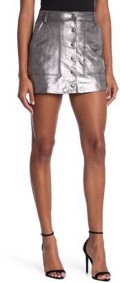 Frame Silver Leather Button Front Skirt