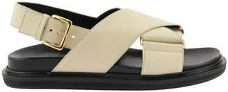 Marni Criss-cross Fussbett In White Leather Sandals