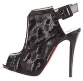Christian Louboutin Lace Peep-Toe Booties