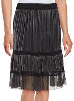Elie Tahari Audra Crochet-Accented Velvet Skirt