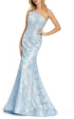 Mac Duggal One-Shoulder Lace Mermaid Gown