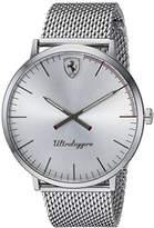 Ferrari Men's 'ULTRALEGGERO ULTRA SLIM' Quartz Stainless Steel Casual Watch, Color:Silver-Toned (Model: 0830407)