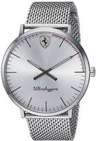 Ferrari Scuderia Men's 'ULTRALEGGERO ULTRA SLIM' Quartz Stainless Steel Casual Watch, Color:Silver-Toned (Model: 0830407)