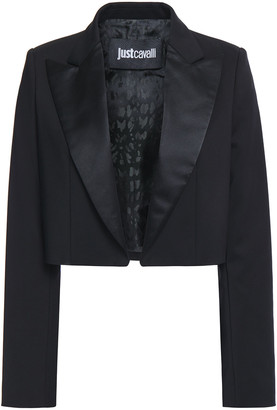 Just Cavalli Cropped Satin-trimmed Cotton-blend Blazer