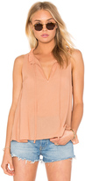 Enza Costa Peasant Voile Ruffle Neck Henley Tank