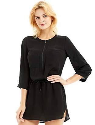 Basic Model Women Summer Chiffon Shirt Dress Drawstring Waist Dress Casual Roll Up Sleeve Zipper Blouses with Front Pockets