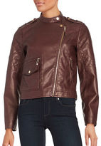 Design Lab Lord & Taylor Faux Leather Moto Jacket