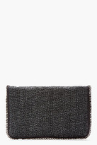 Stella McCartney Charcoal Tweed Foldover Fallabella Clutch
