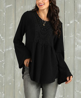 Suzanne Betro Weekend Women's Tunics 102black - Black Lace-Trim Babydoll Tunic - Women