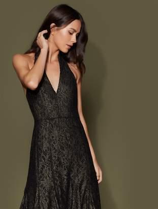 Halston Slit Neck Metallic Lace Gown
