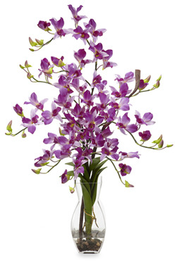 Bed Bath & Beyond Nearly Natural Dendrobium w/ Vase Silk Flower Arrangement - Purple