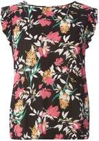 Dorothy Perkins Black Floral Tie Back Shell Top