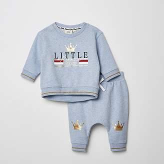 River Island Mini boys blue printed sweatshirt outfit