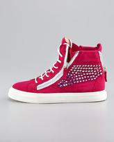 Giuseppe Zanotti High-Top Crystal-Panel Sneaker, Fuchsia