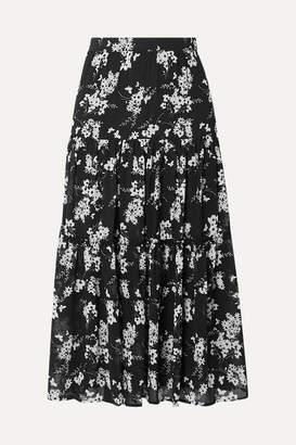 MICHAEL Michael Kors Tiered Floral-print Chiffon Skirt - Black