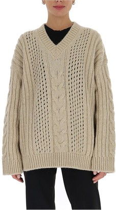 Nanushka Cable Knit V-Neck Sweater