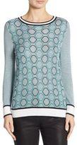 St. John Geometric-Print Wool Sweater