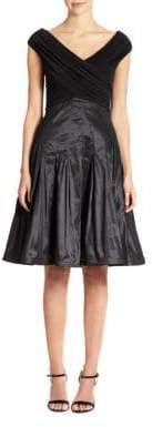 Tadashi Shoji Taffeta Fit-And-Flare Dress
