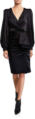 Sachin + Babi Anais V-Neck Long-Sleeve Drape Dress w/ Front Bow