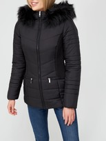 Thumbnail for your product : Very ValueShort Padded Jacket withFaux Fur Trim - Black