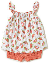 Starting Out Baby Girls Newborn-24 Months Watermelon Print Smocked Top & Eyelet Shorts Set