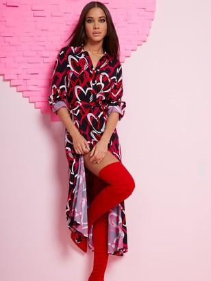 New York & Co. Heart-Print Maxi Shirtdress