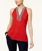 Cable & Gauge Cupio Sleeveless Embroidered Top
