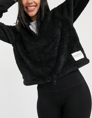 Calvin Klein half zip sweatshirt in black