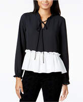 Maison Jules Ruffled Colorblocked Top, Created for Macy's