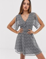 AllSaints ivey scatter mini dress with tie waist