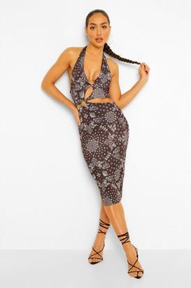boohoo Bandana Print Cut Out Halterneck Midi Dress