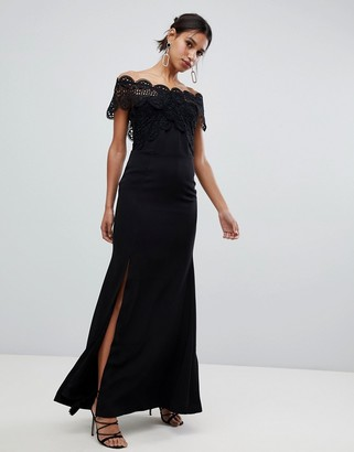 True Decadence lace bardot maxi dress in black