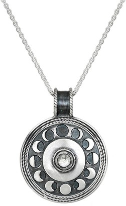 "Satya Moonstone Moon Phase Necklace 30"", Sterling"